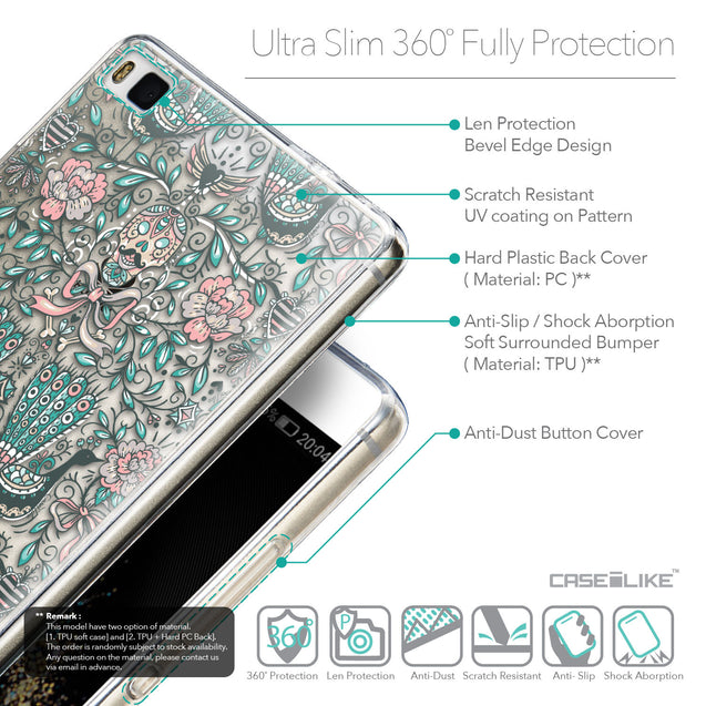 Details in English - CASEiLIKE Huawei P8 back cover Roses Ornamental Skulls Peacocks 2226