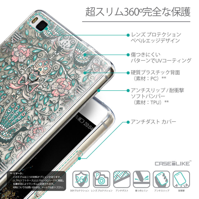Details in Japanese - CASEiLIKE Huawei P8 back cover Roses Ornamental Skulls Peacocks 2226