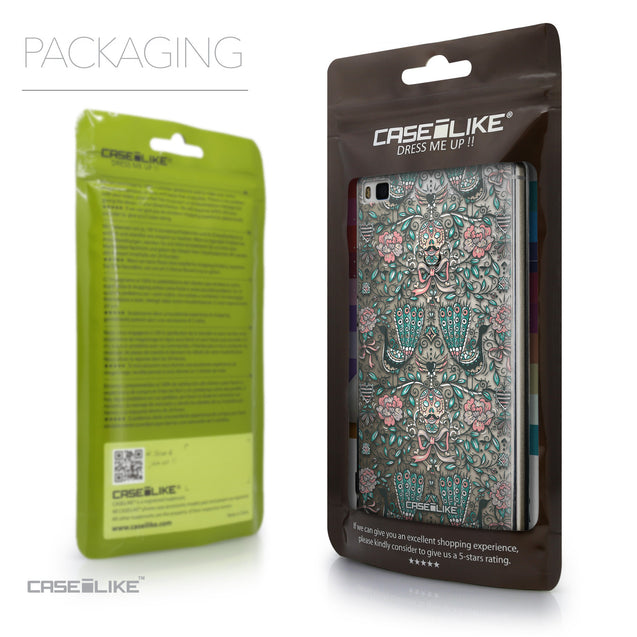 Packaging - CASEiLIKE Huawei P8 back cover Roses Ornamental Skulls Peacocks 2226