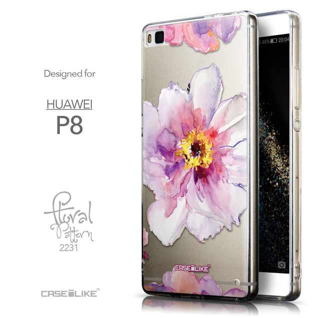 Front & Side View - CASEiLIKE Huawei P8 back cover Watercolor Floral 2231