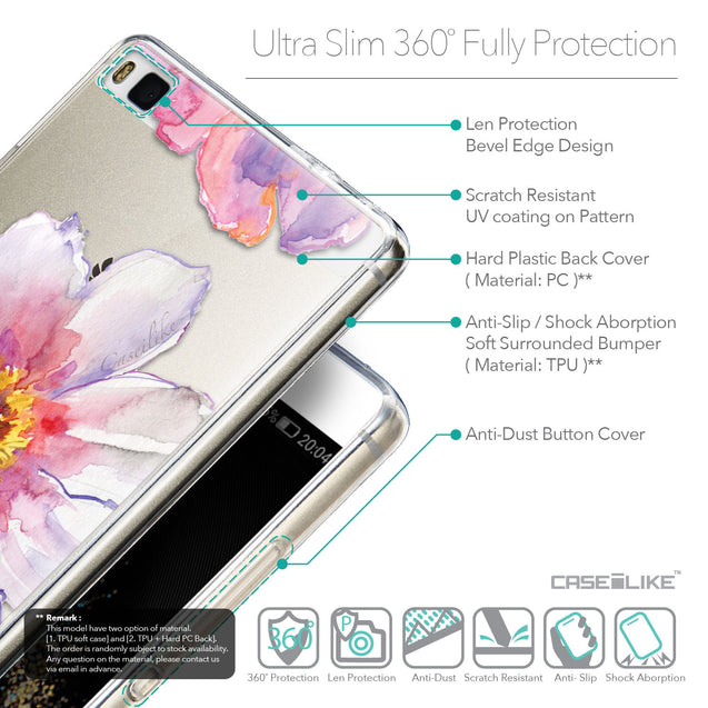 Details in English - CASEiLIKE Huawei P8 back cover Watercolor Floral 2231