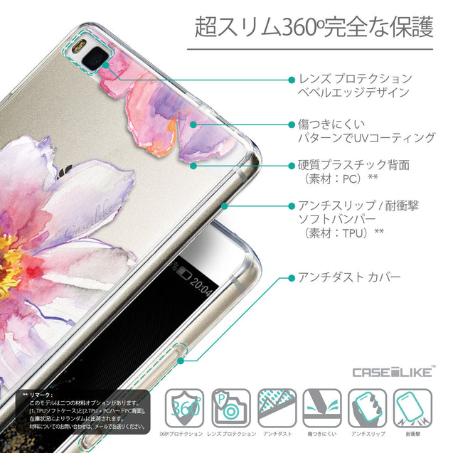 Details in Japanese - CASEiLIKE Huawei P8 back cover Watercolor Floral 2231