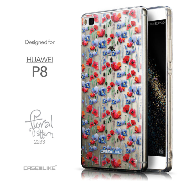 Front & Side View - CASEiLIKE Huawei P8 back cover Watercolor Floral 2233