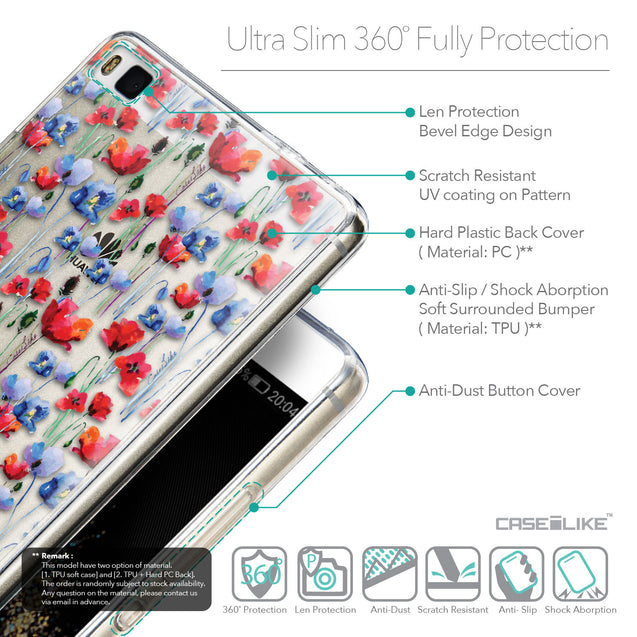 Details in English - CASEiLIKE Huawei P8 back cover Watercolor Floral 2233