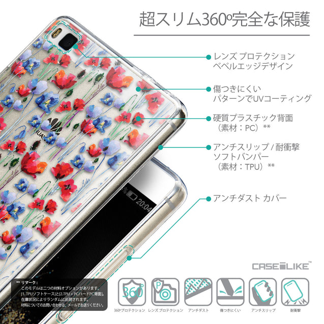 Details in Japanese - CASEiLIKE Huawei P8 back cover Watercolor Floral 2233