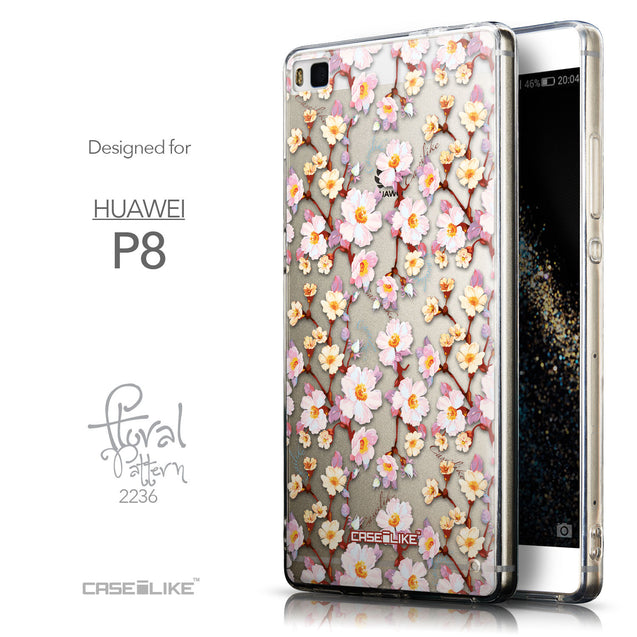 Front & Side View - CASEiLIKE Huawei P8 back cover Watercolor Floral 2236