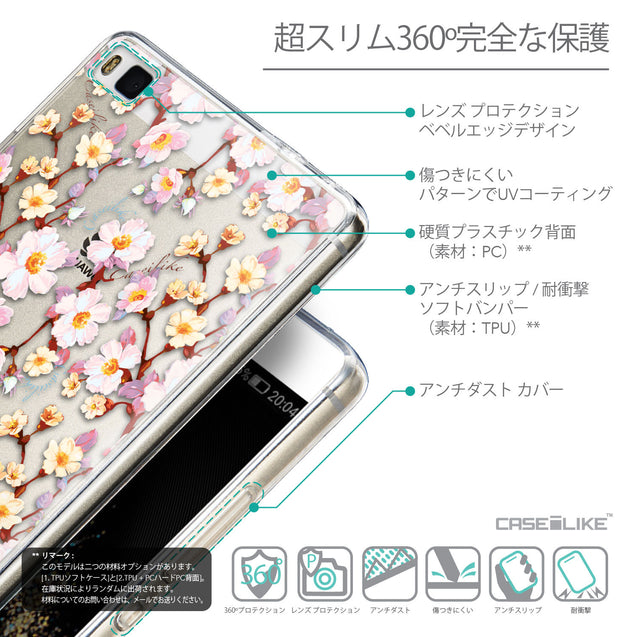 Details in Japanese - CASEiLIKE Huawei P8 back cover Watercolor Floral 2236