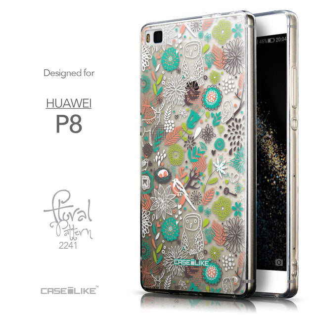 Front & Side View - CASEiLIKE Huawei P8 back cover Spring Forest White 2241