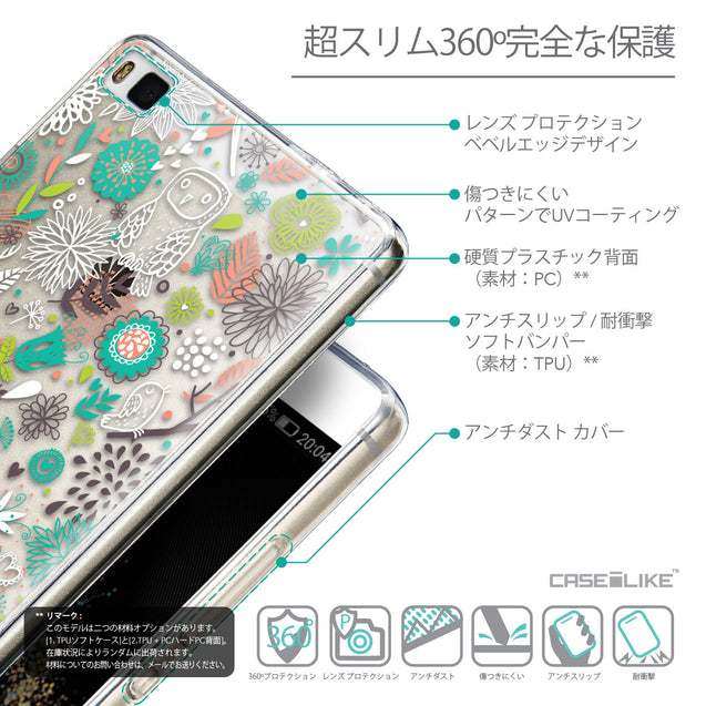 Details in Japanese - CASEiLIKE Huawei P8 back cover Spring Forest White 2241