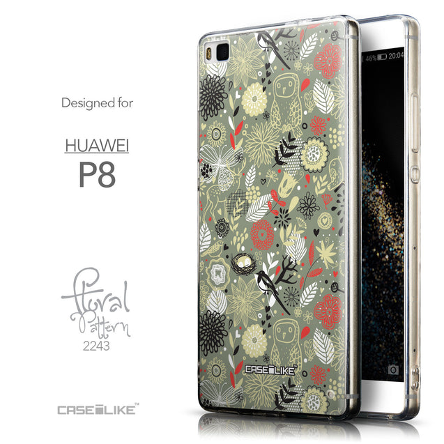 Front & Side View - CASEiLIKE Huawei P8 back cover Spring Forest Gray 2243