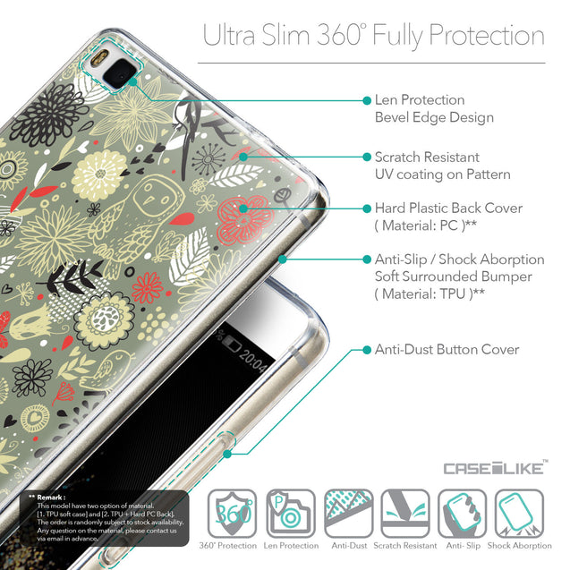 Details in English - CASEiLIKE Huawei P8 back cover Spring Forest Gray 2243