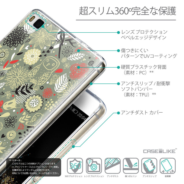Details in Japanese - CASEiLIKE Huawei P8 back cover Spring Forest Gray 2243