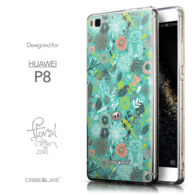 Front & Side View - CASEiLIKE Huawei P8 back cover Spring Forest Turquoise 2245