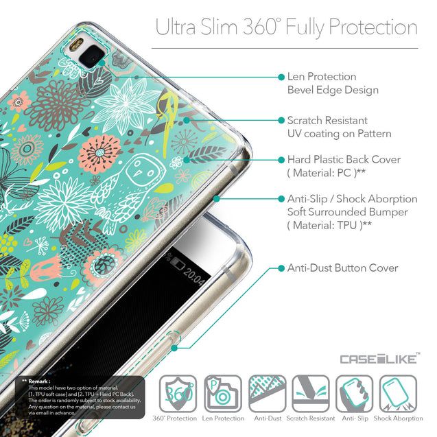 Details in English - CASEiLIKE Huawei P8 back cover Spring Forest Turquoise 2245