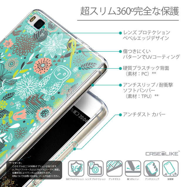 Details in Japanese - CASEiLIKE Huawei P8 back cover Spring Forest Turquoise 2245