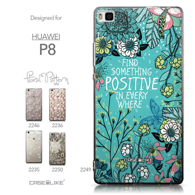 Collection - CASEiLIKE Huawei P8 back cover Blooming Flowers Turquoise 2249