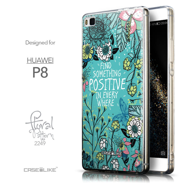 Front & Side View - CASEiLIKE Huawei P8 back cover Blooming Flowers Turquoise 2249