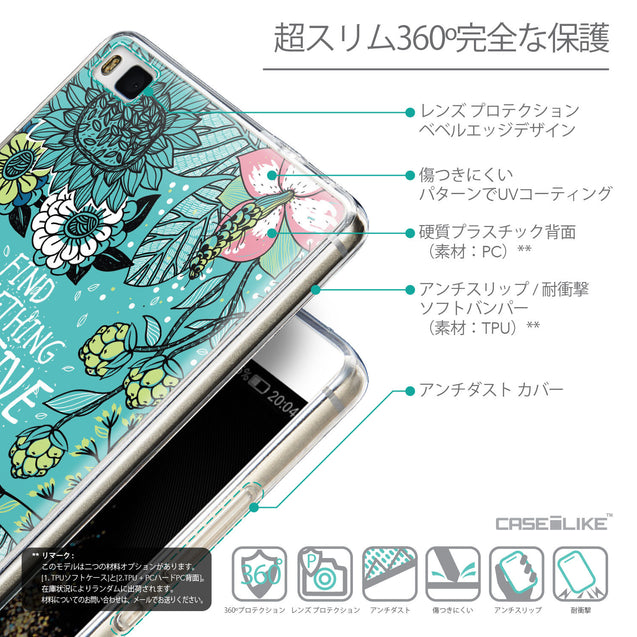 Details in Japanese - CASEiLIKE Huawei P8 back cover Blooming Flowers Turquoise 2249