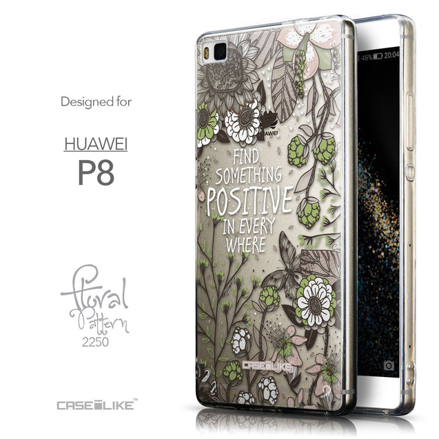 Front & Side View - CASEiLIKE Huawei P8 back cover Blooming Flowers 2250