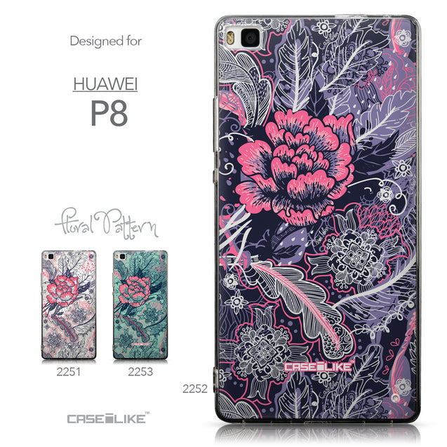 Collection - CASEiLIKE Huawei P8 back cover Vintage Roses and Feathers Blue 2252