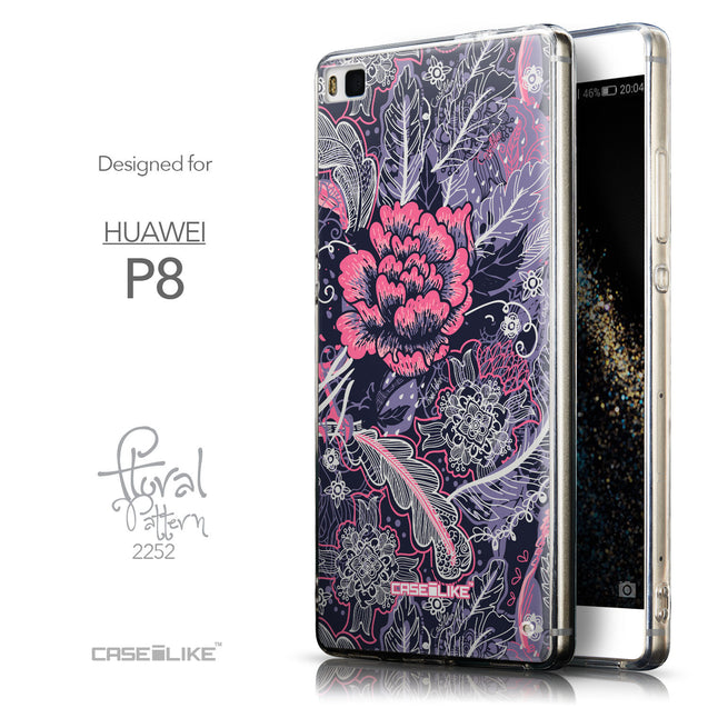 Front & Side View - CASEiLIKE Huawei P8 back cover Vintage Roses and Feathers Blue 2252