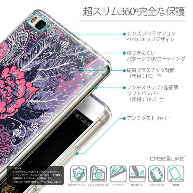 Details in Japanese - CASEiLIKE Huawei P8 back cover Vintage Roses and Feathers Blue 2252