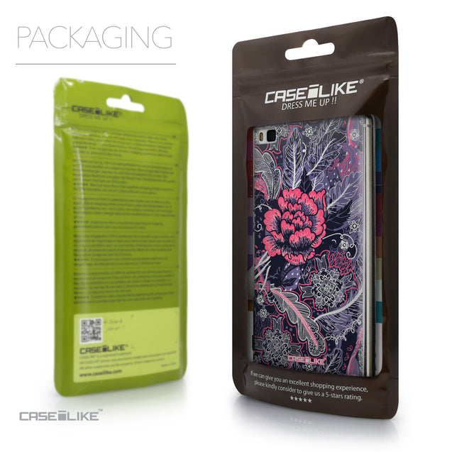 Packaging - CASEiLIKE Huawei P8 back cover Vintage Roses and Feathers Blue 2252