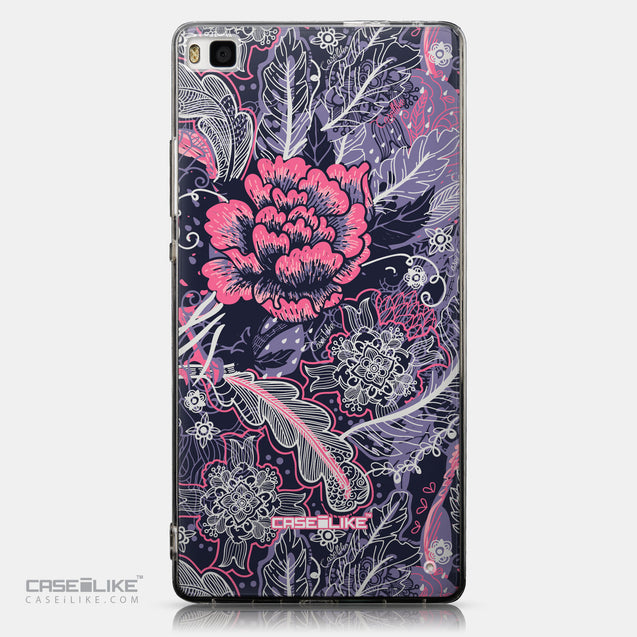 CASEiLIKE Huawei P8 back cover Vintage Roses and Feathers Blue 2252
