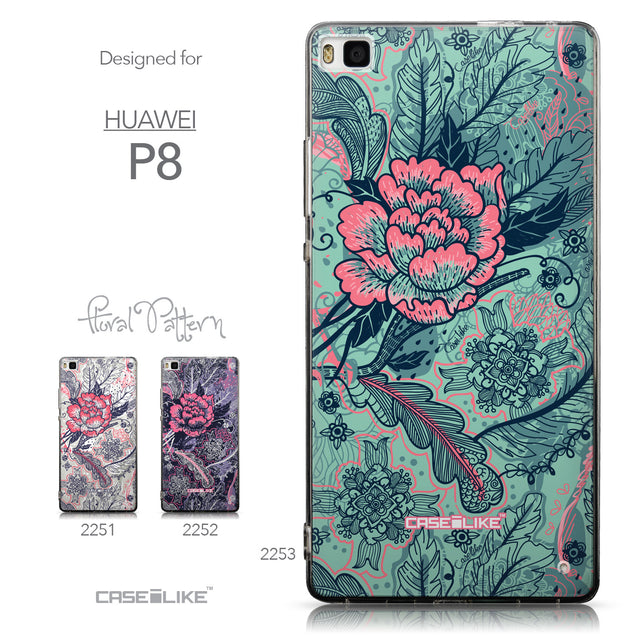Collection - CASEiLIKE Huawei P8 back cover Vintage Roses and Feathers Turquoise 2253