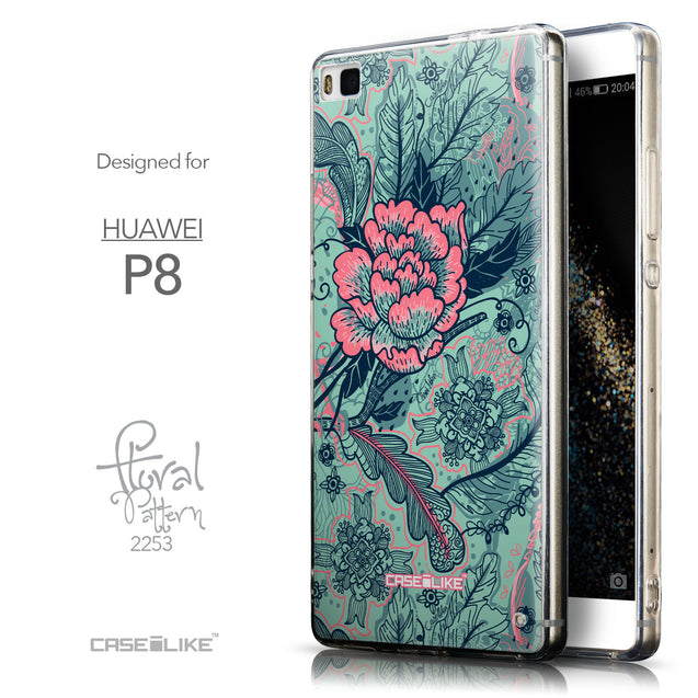 Front & Side View - CASEiLIKE Huawei P8 back cover Vintage Roses and Feathers Turquoise 2253