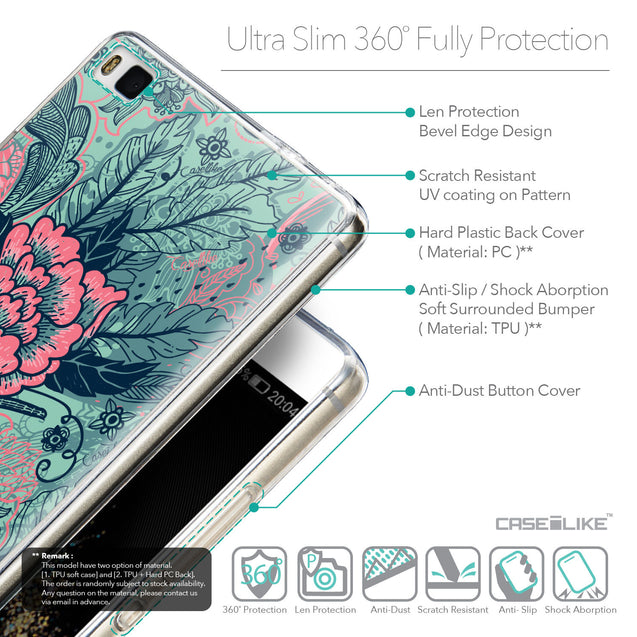 Details in English - CASEiLIKE Huawei P8 back cover Vintage Roses and Feathers Turquoise 2253