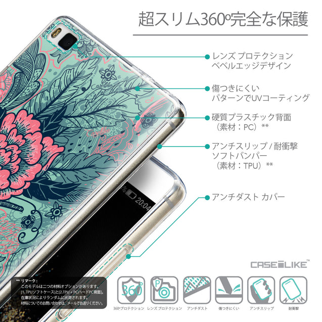 Details in Japanese - CASEiLIKE Huawei P8 back cover Vintage Roses and Feathers Turquoise 2253