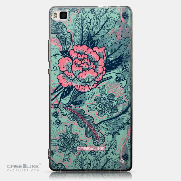 CASEiLIKE Huawei P8 back cover Vintage Roses and Feathers Turquoise 2253