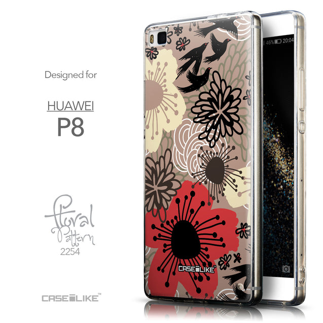 Front & Side View - CASEiLIKE Huawei P8 back cover Japanese Floral 2254