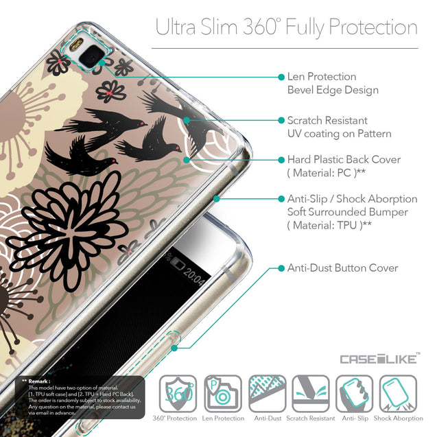 Details in English - CASEiLIKE Huawei P8 back cover Japanese Floral 2254