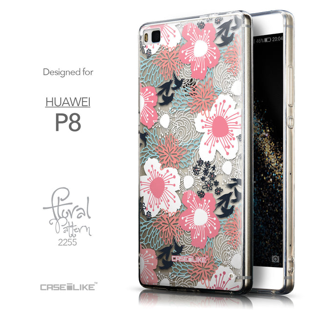 Front & Side View - CASEiLIKE Huawei P8 back cover Japanese Floral 2255