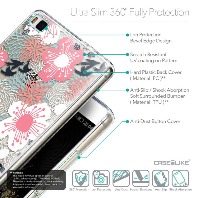 Details in English - CASEiLIKE Huawei P8 back cover Japanese Floral 2255