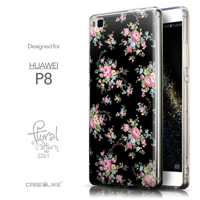 Front & Side View - CASEiLIKE Huawei P8 back cover Floral Rose Classic 2261