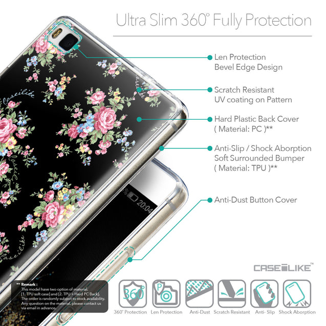 Details in English - CASEiLIKE Huawei P8 back cover Floral Rose Classic 2261