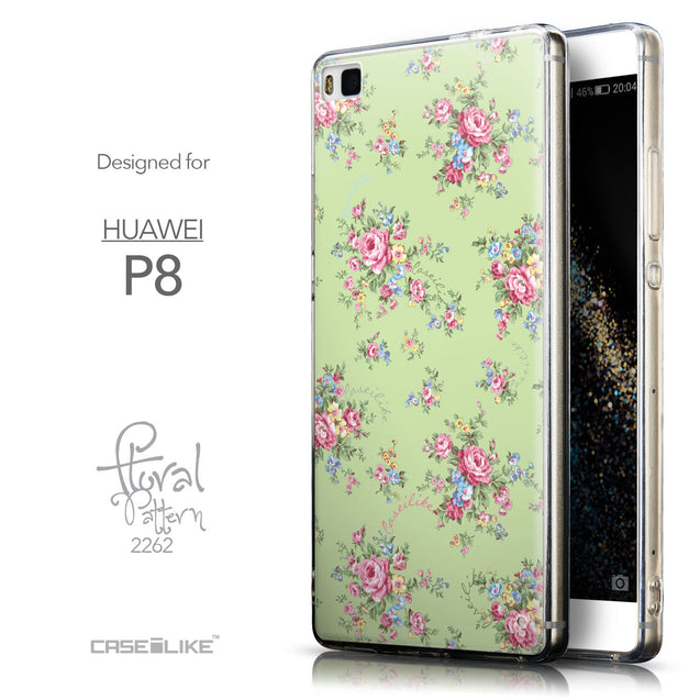 Front & Side View - CASEiLIKE Huawei P8 back cover Floral Rose Classic 2262