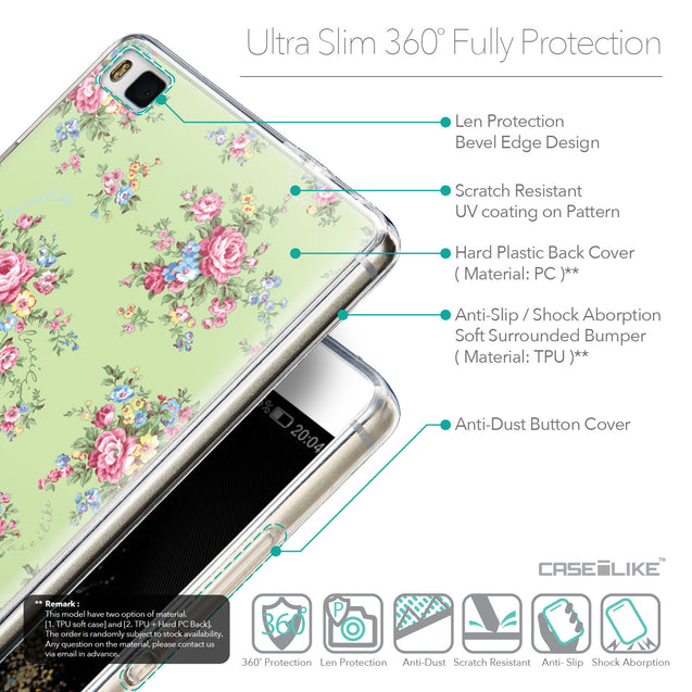 Details in English - CASEiLIKE Huawei P8 back cover Floral Rose Classic 2262