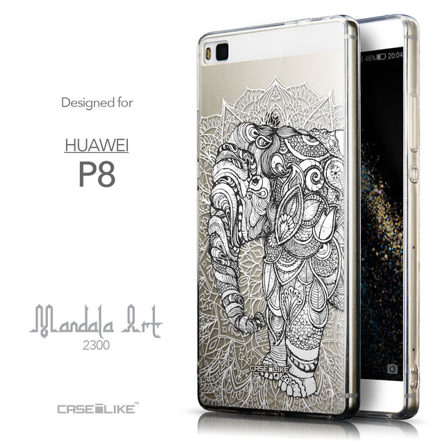 Front & Side View - CASEiLIKE Huawei P8 back cover Mandala Art 2300
