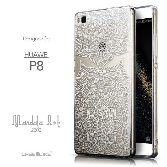 Front & Side View - CASEiLIKE Huawei P8 back cover Mandala Art 2303
