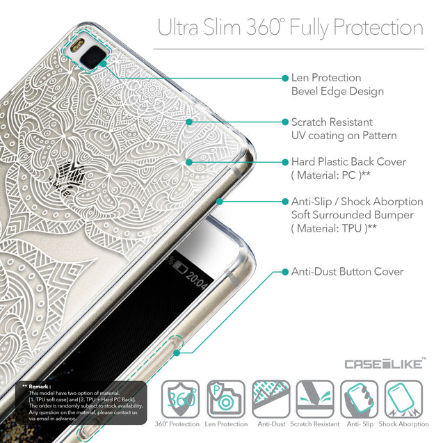 Details in English - CASEiLIKE Huawei P8 back cover Mandala Art 2303
