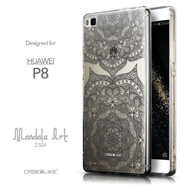 Front & Side View - CASEiLIKE Huawei P8 back cover Mandala Art 2304
