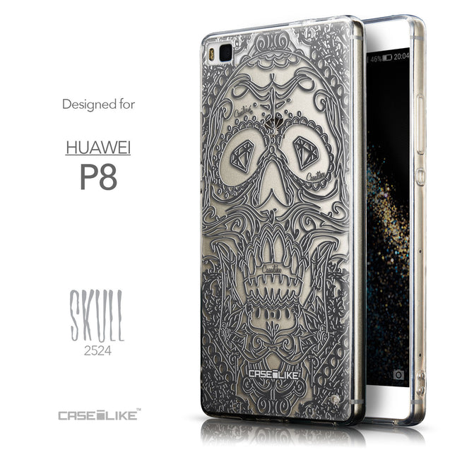 Front & Side View - CASEiLIKE Huawei P8 back cover Art of Skull 2524