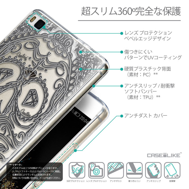 Details in Japanese - CASEiLIKE Huawei P8 back cover Art of Skull 2524