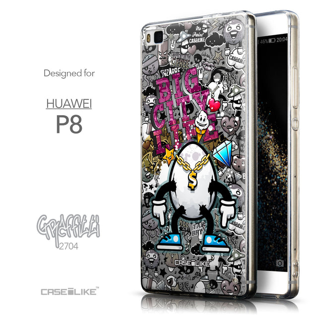 Front & Side View - CASEiLIKE Huawei P8 back cover Graffiti 2704