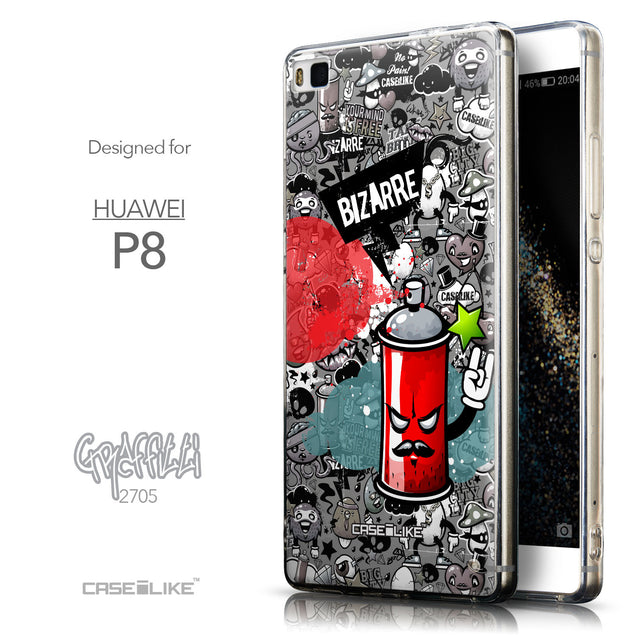 Front & Side View - CASEiLIKE Huawei P8 back cover Graffiti 2705