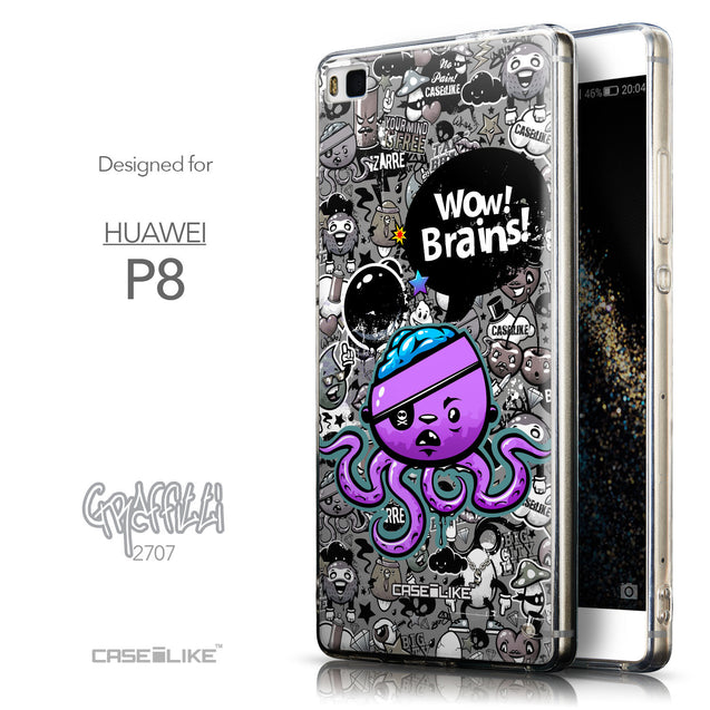 Front & Side View - CASEiLIKE Huawei P8 back cover Graffiti 2707